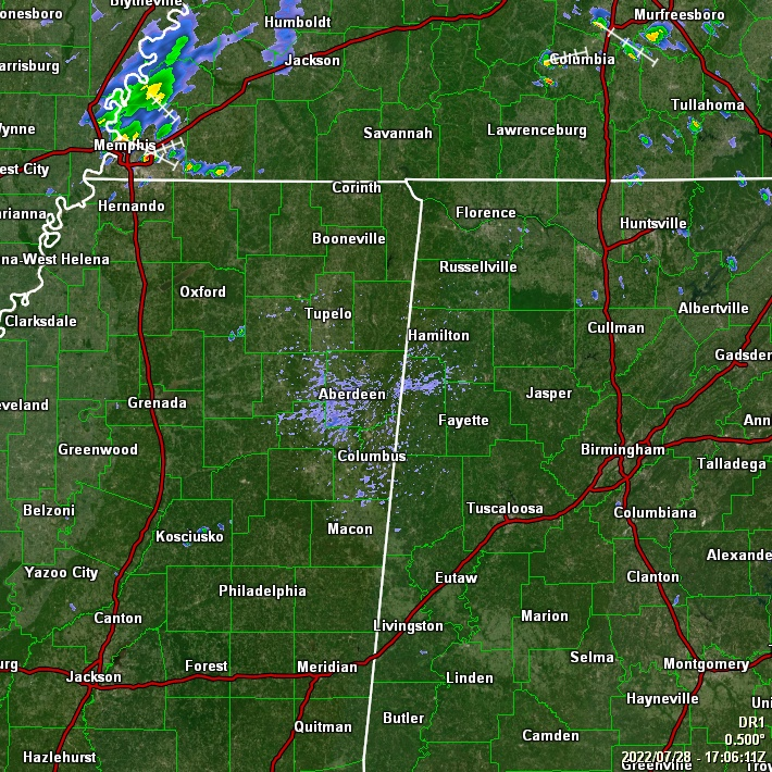 Latest Radar for Tupelo, MS Area